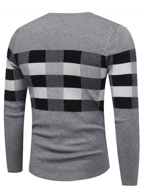ladies Crew Neck Color Block Plaid Pullover Sweater - GRAY XL Mobile