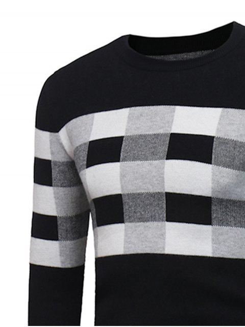 latest Crew Neck Color Block Plaid Pullover Sweater - BLACK XL Mobile