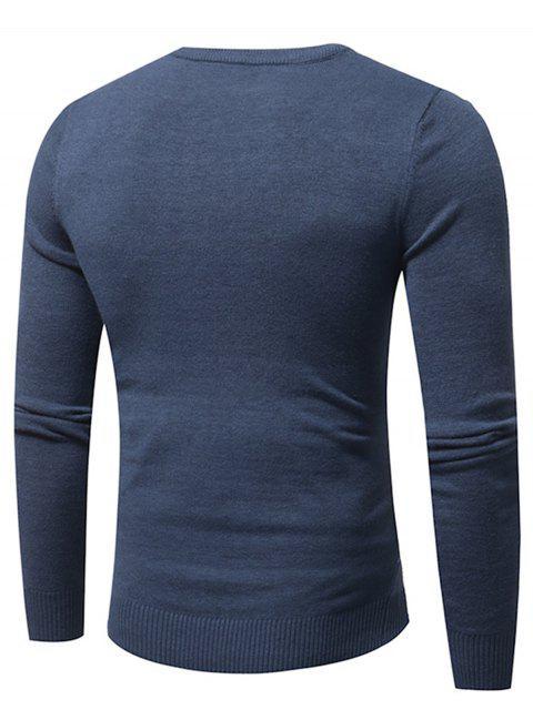 fancy Crew Neck Tartan Tie Dye Print Pullover Sweater - LIGHT BLUE XL Mobile
