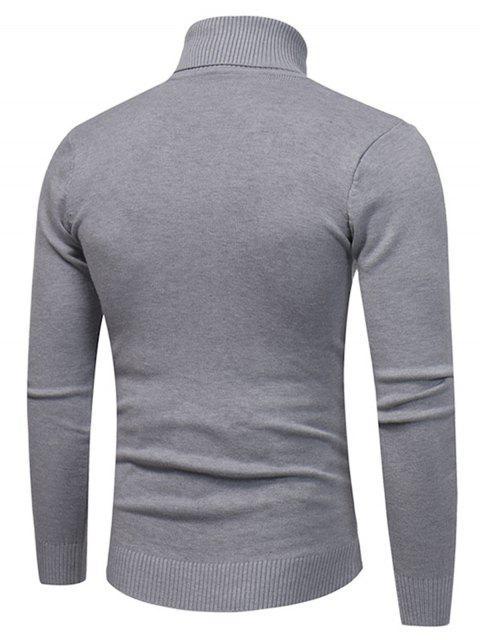 latest Turtle Neck Twist Plaid Jacquard Pullover Sweater - GRAY 2XL Mobile