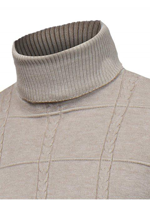affordable Turtle Neck Twist Plaid Jacquard Pullover Sweater - KHAKI 3XL Mobile