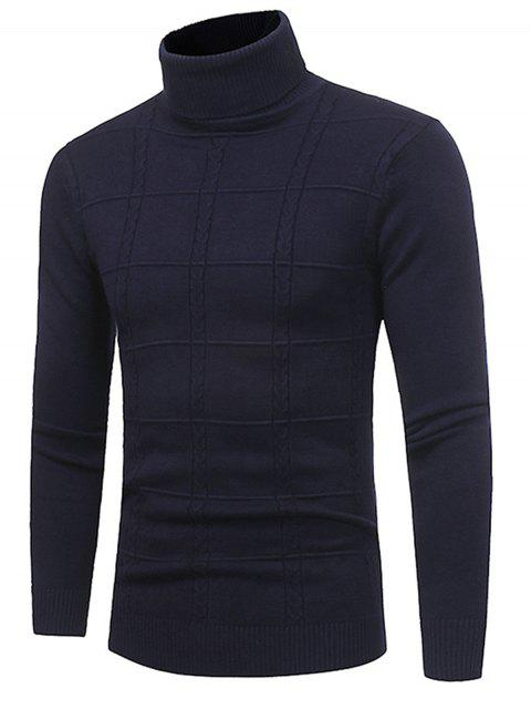 Turtle Neck Twist Plaid Jacquard Pullover Sweater - Azul Marino  2XL Mobile