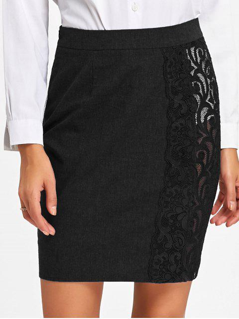 new Lace Trim Slim Fit Skirt - BLACK M Mobile