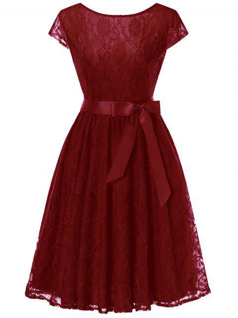 Robe en dentelle à mancherons - Rouge vineux  L Mobile