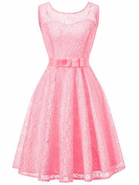 Robe Trapèze Sans Manches en Dentelle Style Vintage - Rose  XL Mobile