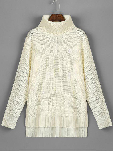 Suéter de cuello alto con abertura en el bajo talle alto - Blanco Única Talla Mobile