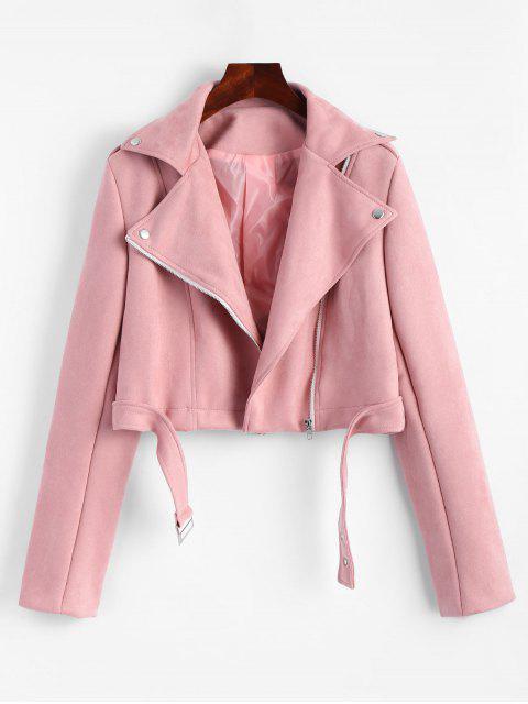 chic Asymmetric Zipper Cropped Faux Suede Jacket - PAPAYA L Mobile