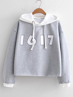 Number Two Tone Oversized Hoodie - Gray