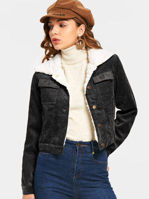 Shearling Cropped Corduroy Jacket