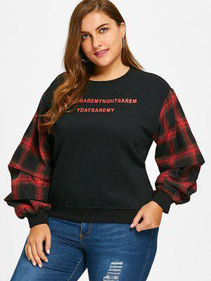 Gingham Lantern Sleeve Plus Size Sweatshirt
