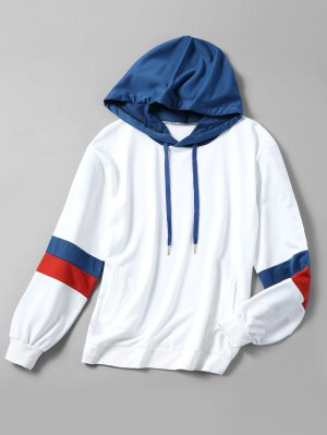 Drawstring Color Block Oversized Hoodie - White S