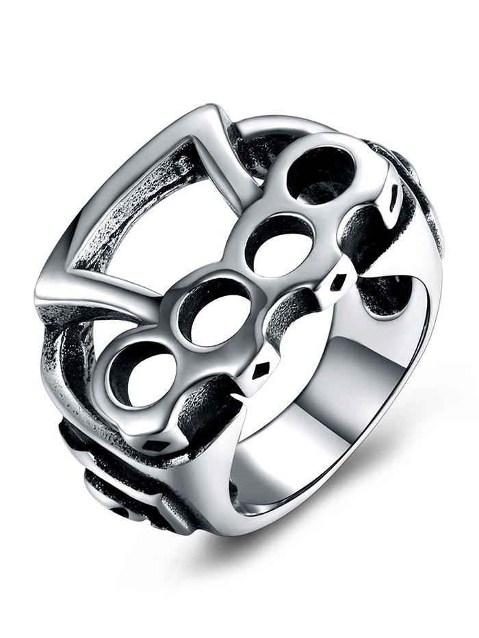 Geometric Pattern Titanium Steel Rolling Biker Ring