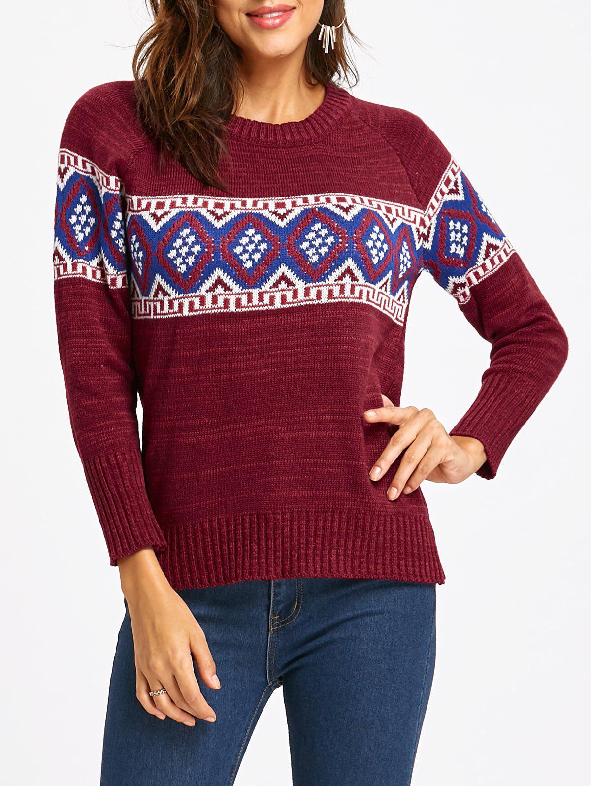 Raglan Sleeve Rhombus Sweater 234220502
