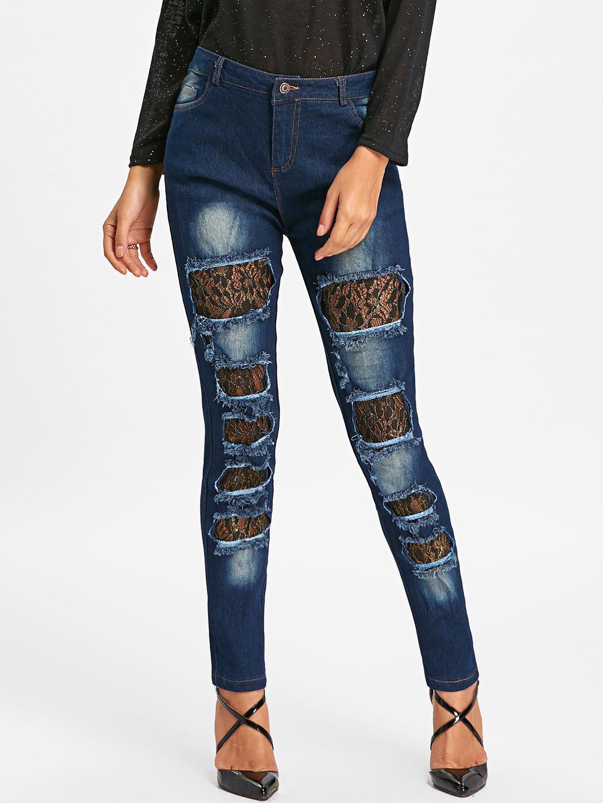 Lace Insert Distressed Denim Jeans 232874604
