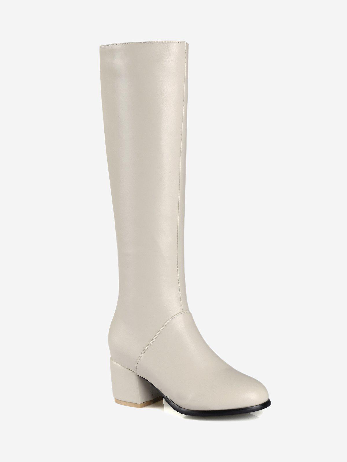 PU Leather Chunky Heel Knee High Boots