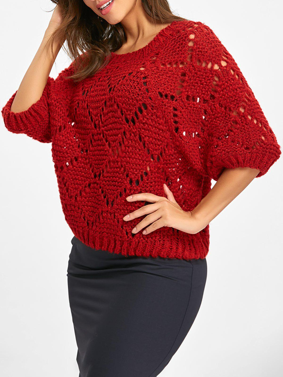 Half Sleeve Chunky Knitted Hollow Out Sweater 234414501