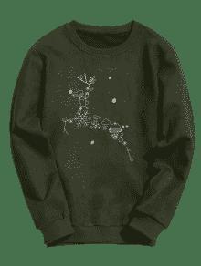 Ejercito De Gamuza Navidad De De Sudadera Reno Xl Verde UYFqSTAwn