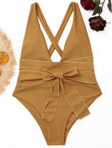 يغرق عالية قطع قطعة واحدة ملابس السباحة - كاكي الظلام S