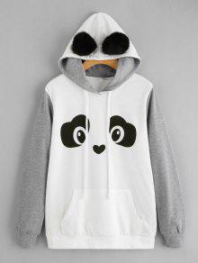 Panda Face Sudadera Con Capucha De Bolsillo Canguro - Gris Y Negro M