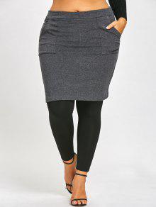 ليجنز تنورة الحجم الكبير بجيوب - أسود ورمادي 4xl