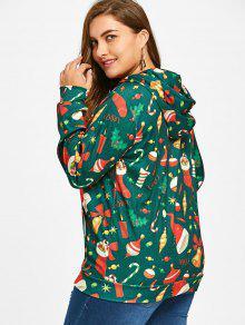 Kangaroo 3xl Pocket Capucha Sudadera Plus Con Size Christmas Verde qOfEwZ