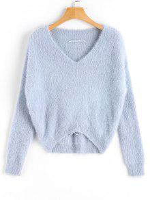 Sweter V Neck Criss Cross Mohair