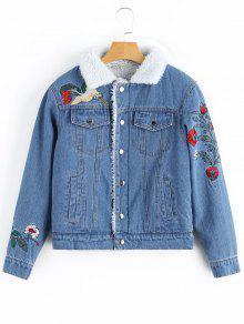 Revestimento De Sarja De Algodão Remendado Floral - Jeans Azul M