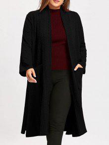 طوق زائد حجم الجاكار ماكسي الشق معطف - أسود