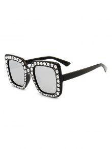 نظارات شمسية مضادة للأشعة فوق البنفسجية مزينة بحجر الراين - أسود + عطارد