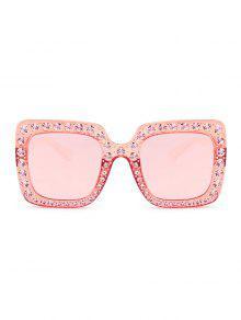 58e3618cc865 ... Sunglasses  Rhinestone Embellished Oversized Square Sunglasses. unique  Rhinestone Embellished Oversized Square Sunglasses - TRANSPARENT PINK FRAME  ...