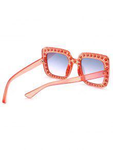 bea9c585de61 ... Rhinestone Embellished Oversized Square Sunglasses. unique Rhinestone  Embellished Oversized Square Sunglasses - TRANSPARENT PINK FRAME + PINK LENS