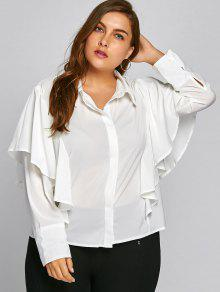 Chemise à Manches Longues à Volants Grande Taille - Blanc Xl