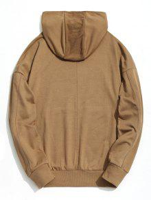 Hoodie Pocket Caqui Kangaroo L Shoulder Drop qRB4P