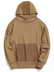L Shoulder Drop Pocket Kangaroo Hoodie Caqui xwRXnX8qAH