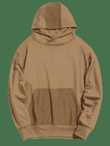 L Kangaroo Shoulder Pocket Drop Hoodie Caqui CzUcXw