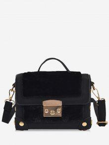 حقيبة كروسبودي من الجلد المصنع مزينة بقطع معدنية - أسود