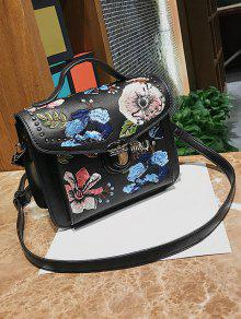 Floral Bag Crossbody BandoulièreZaful Studs NoirSacs Embroidery H29YWEDI