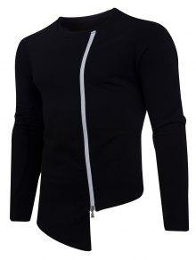 Oblique Up 233;trica Crew 2xl Negro Camiseta Asim Zip Neck 517UqT