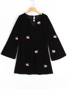 Robe Florale à Manches Évasées Avec Forure - Noir M