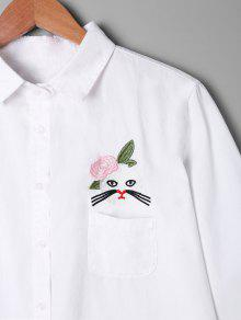 De Bolsillo Aplicaci Camisa De Con Blanco Apliques 243;n qXPq4Hn5