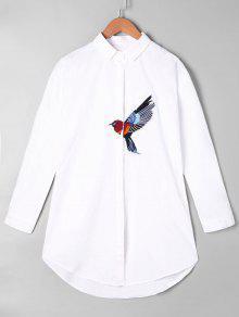 تطريز الطيور الرسم الجرافيك قميص - أبيض
