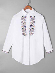 Bordado Dobladillo Túnica Camiseta - Blanco