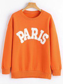 Sweatshirt Mit Langen Ärmel Und Paris Druck  - Roter Zirkon S
