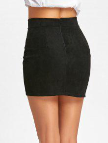 44ebe69cf6 30% OFF] 2019 Faux Suede Lace Up A-line Skirt In BLACK | ZAFUL