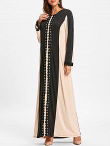 الدانتيل إدراج كتلة اللون ماكسي اللباس العربي - أسود L