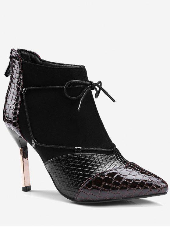 حذاء ذو كعب رفيع مدبب من الأمام أسود اللون - عنابي اللون 40
