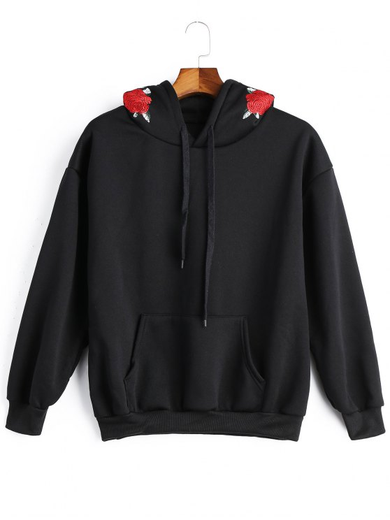 shop Fleece Floral Embroidered Hoodie - BLACK ONE SIZE
