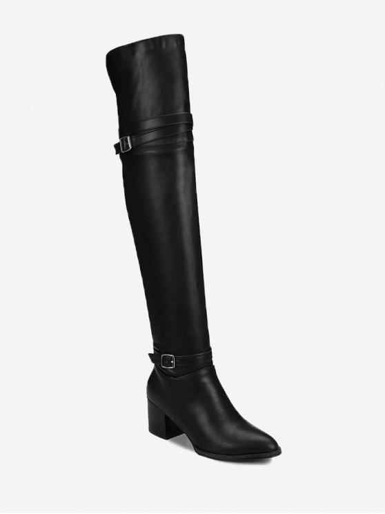 Bloco Heel Buckle Strap Knee High Boots - Preto 40