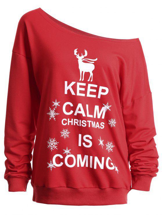 fancy Keep Calm Skew Neck Christmas Sweatshirt - RED 2XL