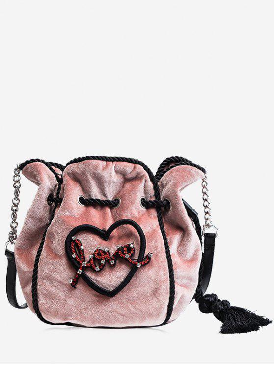 women Heart Pattern Tassel Embroidery Crossbody Bag - PINK